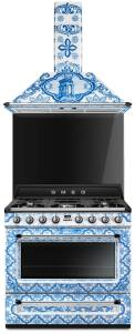 A Dolce and Gabbanna Smeg collaboration featuring a patterned oven, a big trend for kitchens