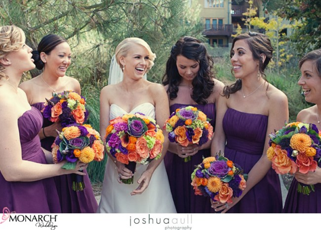Lodge-at-torrey-pines-purple-bridesmaids-dresses-orange-and-purple-wedding