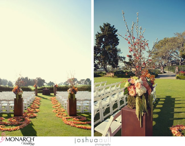 Lodge-at-Torrey-Pines-orange-rose-petal-path-rustic-wedding