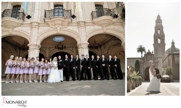 Large_Bridal_Party_Balboa_Park_Prado_wedding_Purple_Bridesmaids_Dress