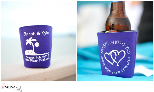 Personalized-beer-cozy-at-Rehearsal-dinner