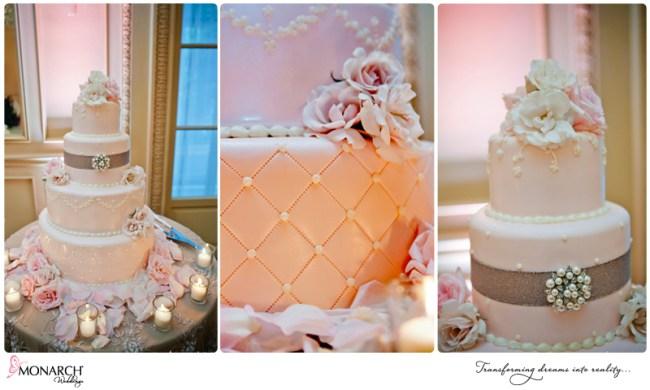 Blush-french-vintage-wedding-cake-pearl-and-rhinestone-detail-westgate-hotel