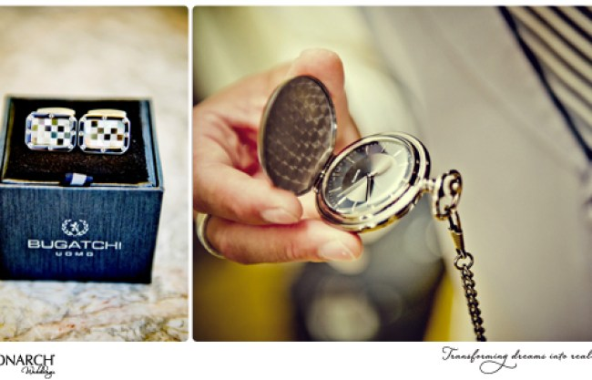 Groom-gift-cuff-links-and-pocket-watch-Westgate-Hotel