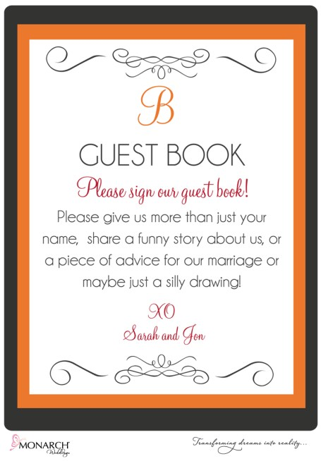 orange-gray-red-wedding-guest-book-sign-by-monarch-weddings