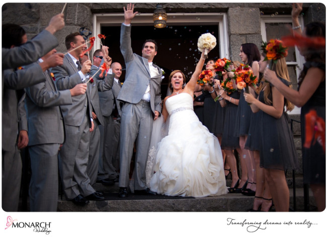 orange-gray-red-wedding-exiting-church-with-pom-poms-and-bubbles