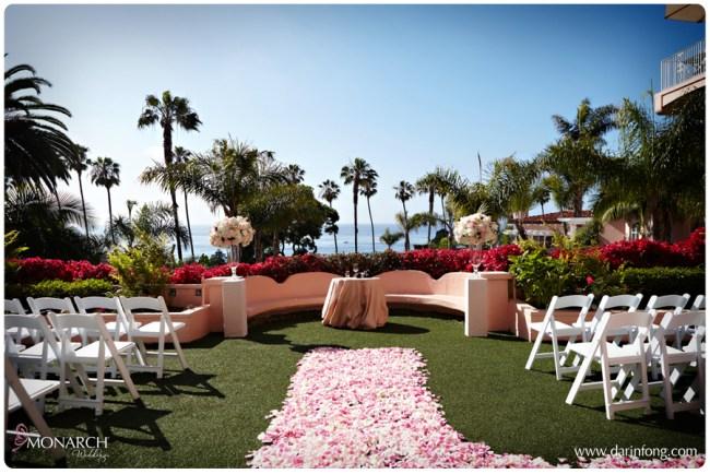 La-Valencia-Hotel-Ceremony-Site-Lace-Columns-pink-petal-aisle