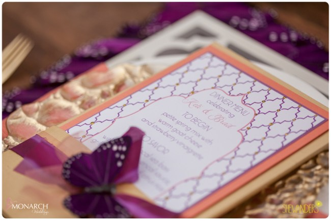J-Grace-silk-wedding-menu-monarch-butterlfy-coral-gold-white