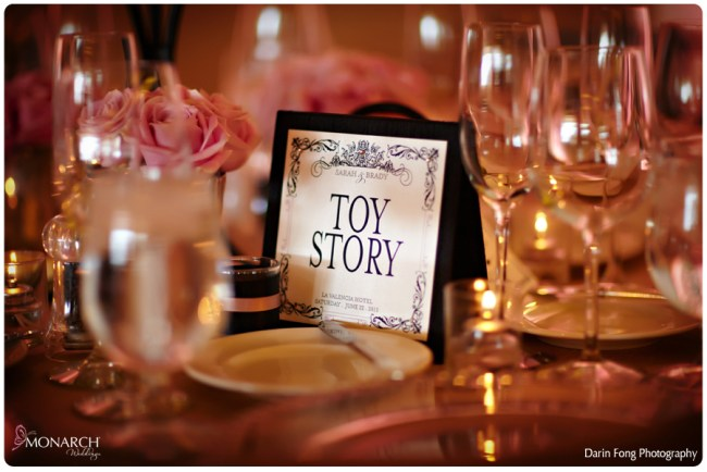 Blush-black-white-wedding-at-La-Valencia-Disney-table-names
