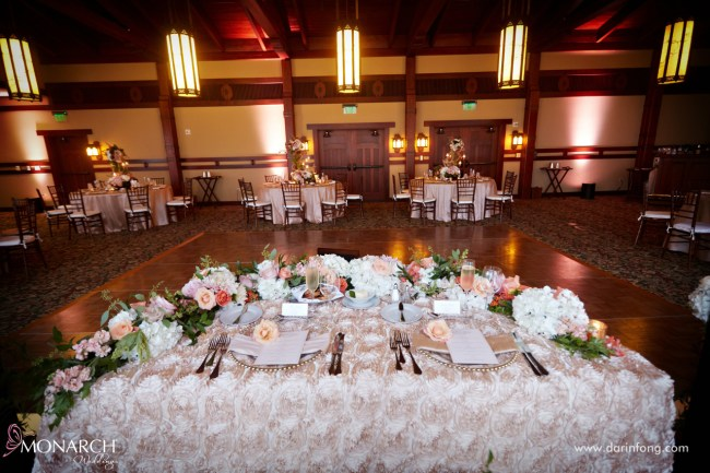 Lodge-at-Torrey-pines-wedding-reception-sweet-heart-table-rustic-florals