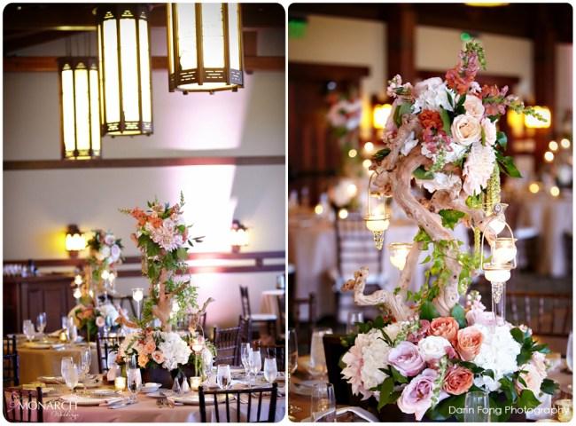Lodge-at-Torrey-pines-wedding-reception-alfred-mitchell-room-birchwood-centerpiece