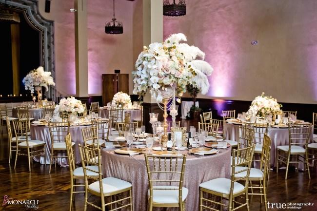 Prado-at-balboa-park-wedding-blush-sequin-linen-gatby-floral-gold-chiavari