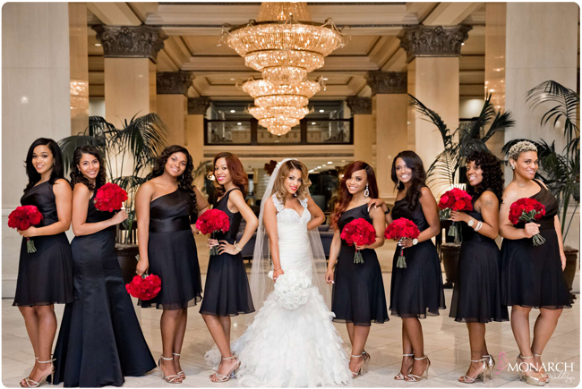 Bridesmaids-black-dress-red-bouquets-us-grant-hotel