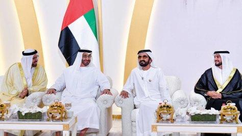 محمد بن راشد ومحمد بن زايد وسعود القاسمي يحضرون أفراح القرقاوي والغفلي