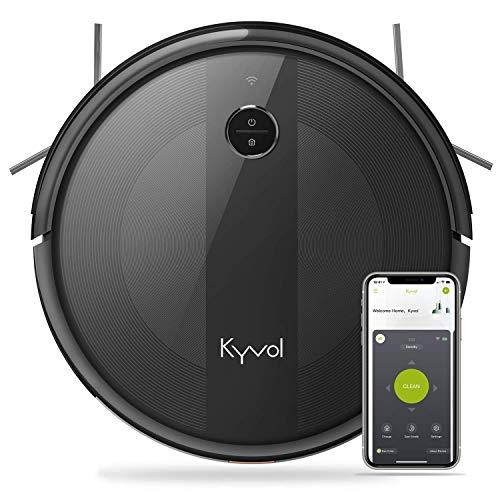 KYVOL Aspirateur Robot 2000Pa, 150Mins Autonomie, 600ML Capacité, Silencieux, Mince, Wi-Fi & App & Alexa, Carpet Boost, Barrières Virtuelles, pour Tapis, Sol Dur, Poil Animaux, Noir