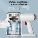 Aspirateur Balai sans Fil sans Sac Aspirateur Puissant 18KPA avec LED Multifonction pour Maison Voiture Bureau VOSFEEL (blanc)