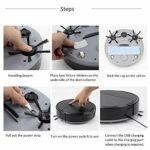 Henseek Outils de bricolage multifonctionnels pour aspirateur robot, balai humide et balai automatique 3 en 1, recharge pour aspirateur sec et humide Noir