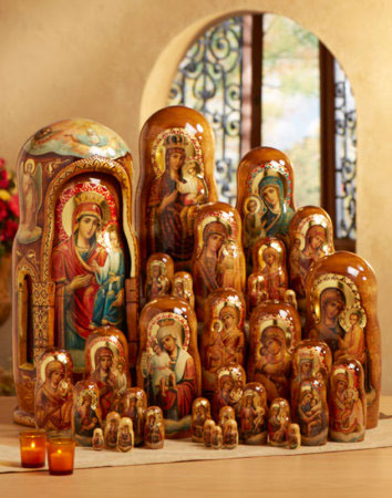 Russian Icons Heirloom Russian Nesting Doll Set Monastery Icons