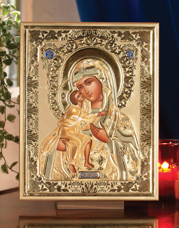 Russian Icons And Gifts Madonna And Child Embossed Icon