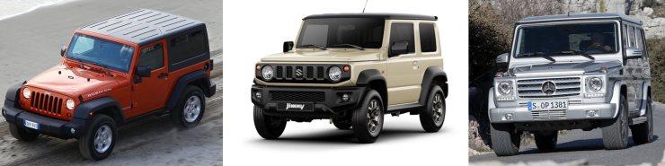 comparaison Jeep Wrangler, Mercedes CLasse G et Suzuki Jimny 2019