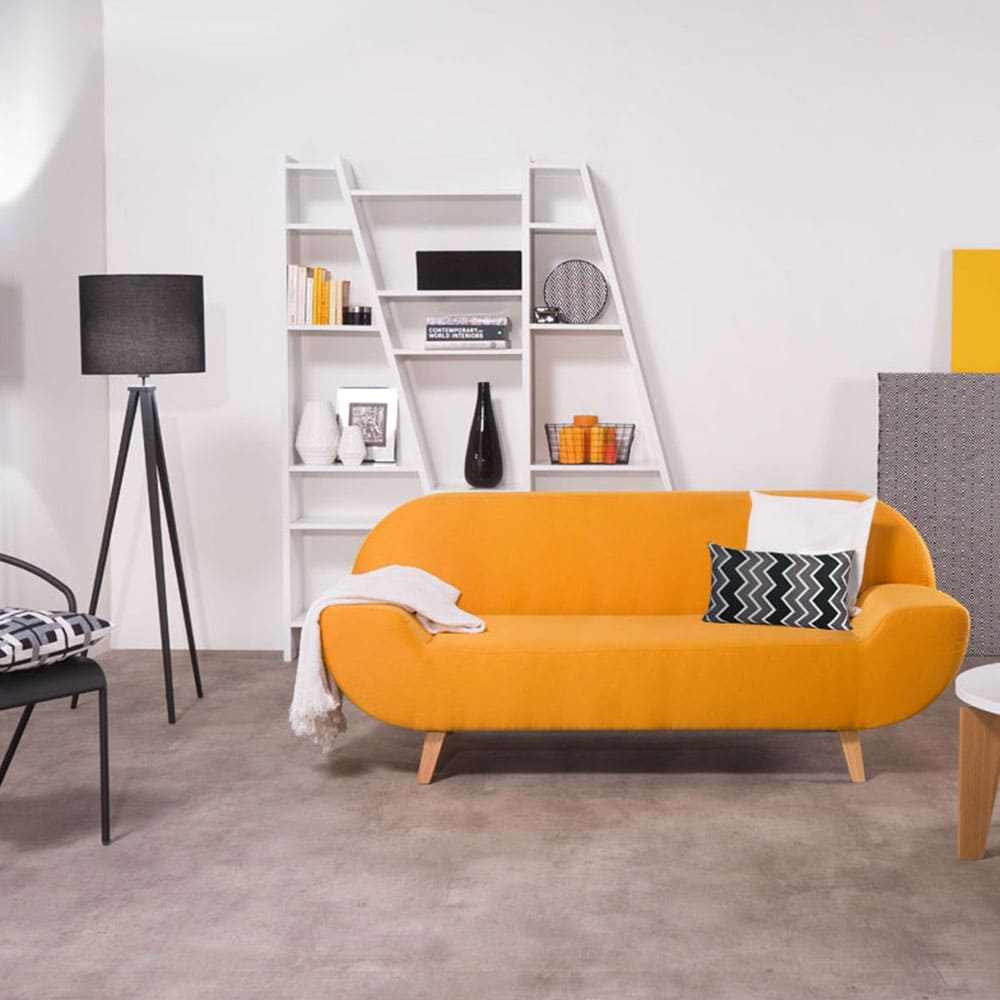 Salon Chic Et Design Avec Canap Jaune 2 Places Et Petite