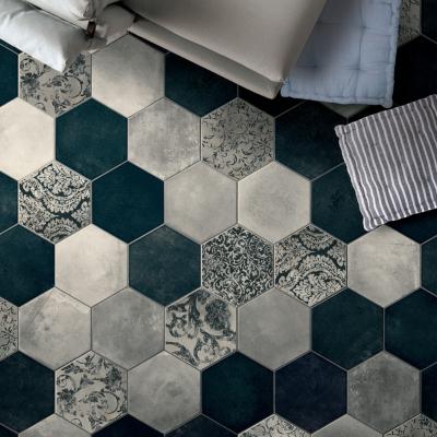carrelage hexagonal imitation carreaux de ciment 24x27 7 collins blue naturel collection miami cir