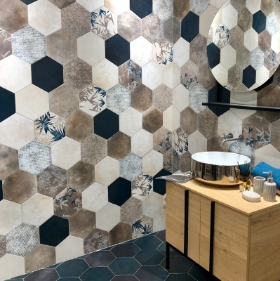 carrelage hexagonal imitation carreaux de ciment 24x27 7 florida blue naturel collection miami cir