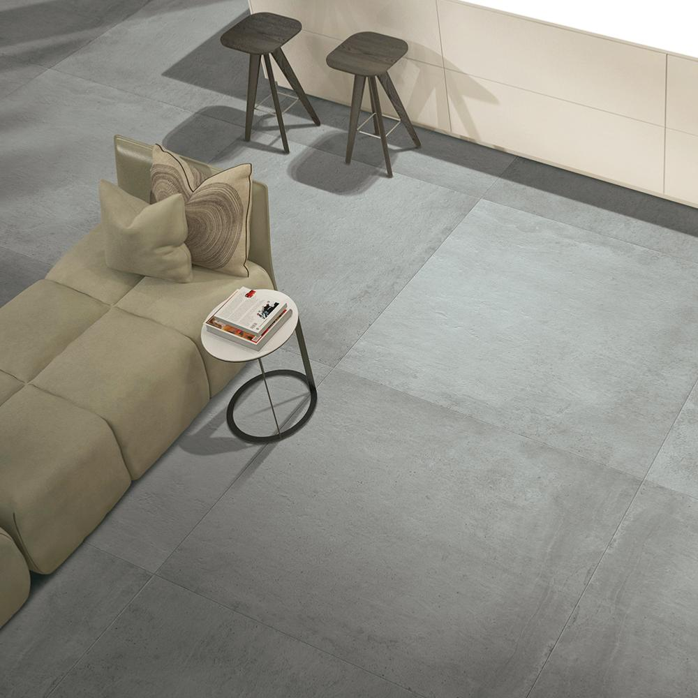 carrelage grand format effet beton gris 100x100 dust naturel rectifie collection gravity cercom