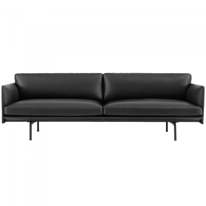 canape outline 3 places elegant et confortable cuir noir muuto