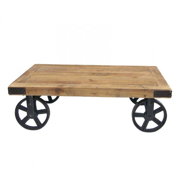 table basse industrielle gramercy a roulettes
