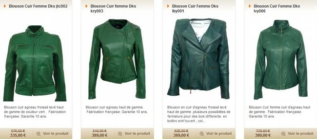 blouson en cuir vert fashion cuir