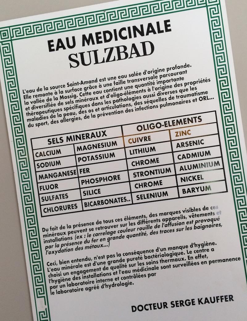 Propriétes de l'eau thermale de Sulzbad
