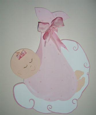 Kundak Bebek Ahşap Kapı Süsü - Kız Bebek