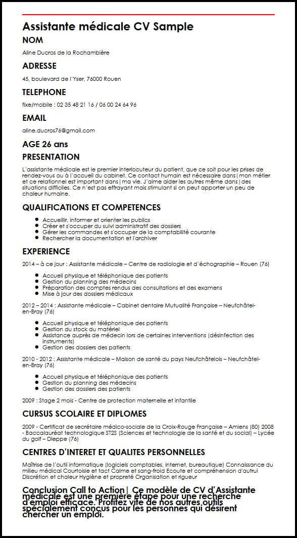 Exemple Et Modele De Cv D Assistante Medicale