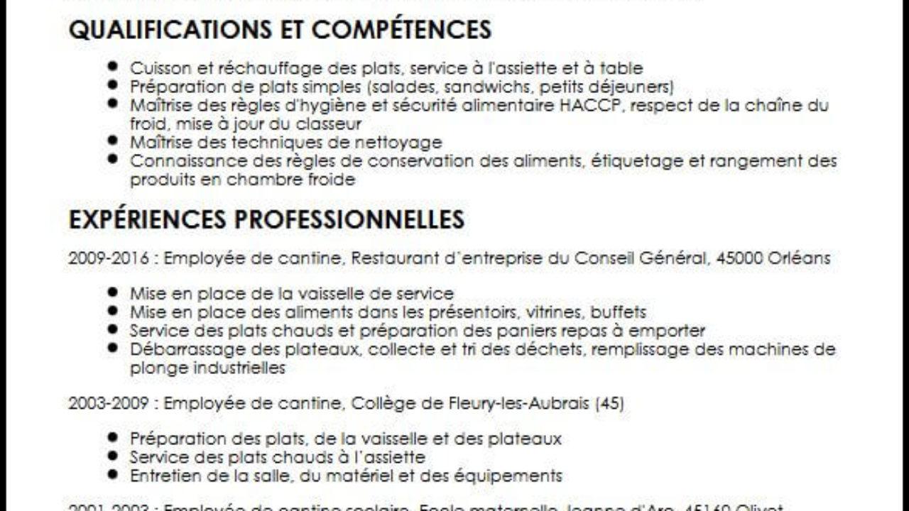 Exemple Et Modele De Cv D Employe De Cantine
