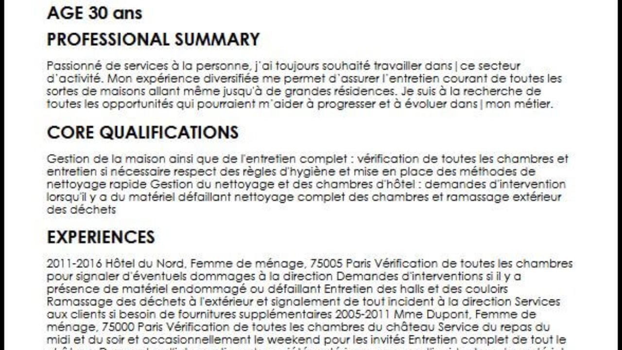 Exemple Et Modele De Cv De Femme De Menage