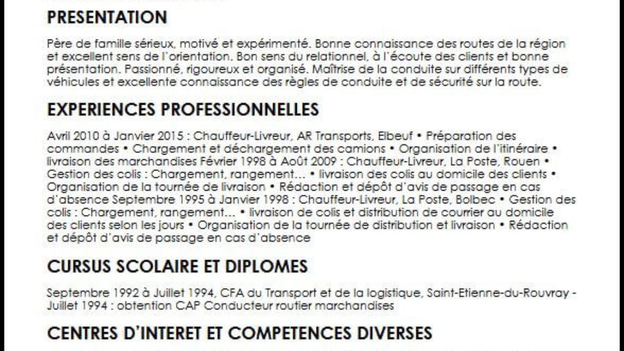 Exemple Et Modele De Cv De Chauffeur Livreur