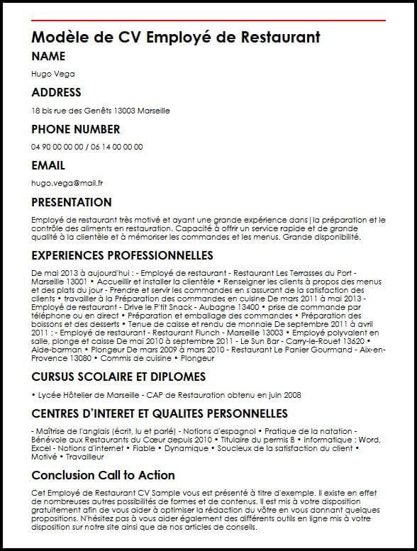 Exemple Et Modele De Cv D Employe De Restaurant