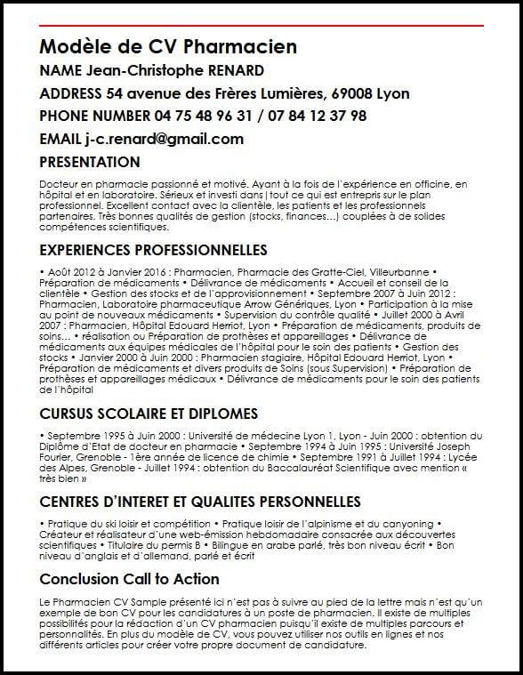 Exemple Et Modele De Cv De Pharmacien