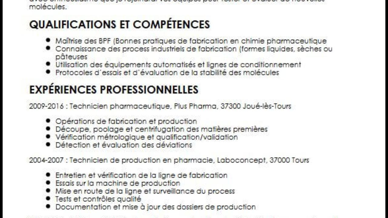 Un Bon Exemple De Cv De Technicien En Pharmacie Moncvparfait