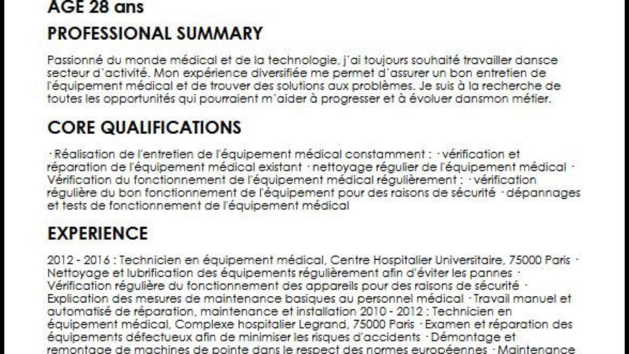 Redigez Un Cv De Technicien Biomedical Parfait Moncvparfait