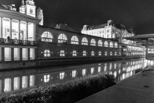 night in Ljubljana by the Ljubljanica River