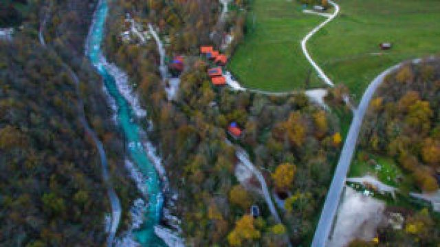 aerial view of Kamp Koren and Soca River in Kobarid