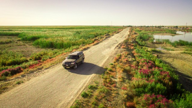 Aerial view of our car with just grass around