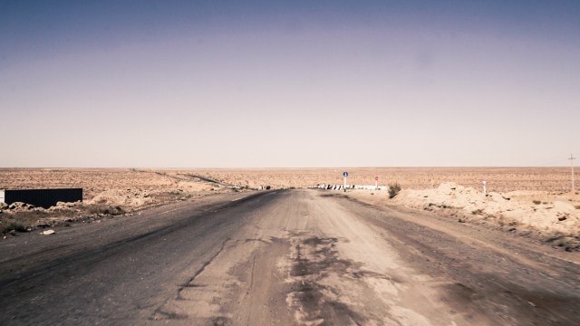 Bad road in Central Asia