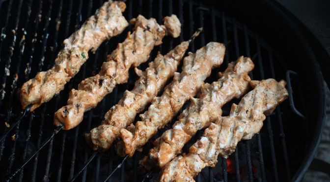 Yoghurt marinated chicken kebobs with Aleppo peppers