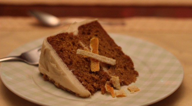 Pumpkin Spice Cake with caramel cream cheese frosting