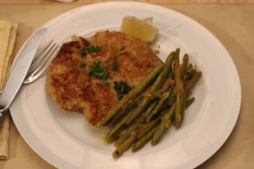 Chicken Milanese with Braised Green Beans