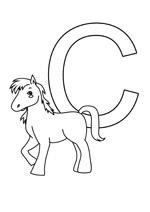 Coloriage de la lettre c comme cheval pour les enfants