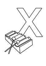 Coloriage de la lettre X à imprimer