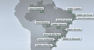 Carte des stades de la coupe du monde 2014